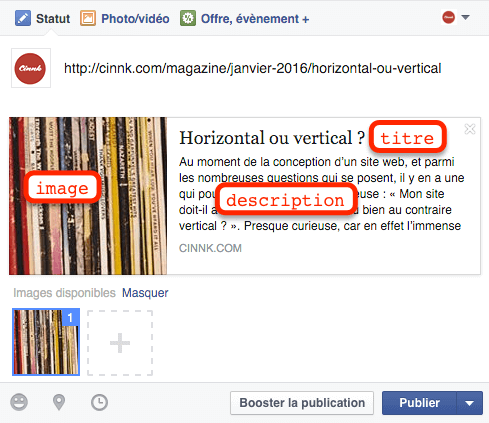 Post Facebook avec Image, Titre et Description